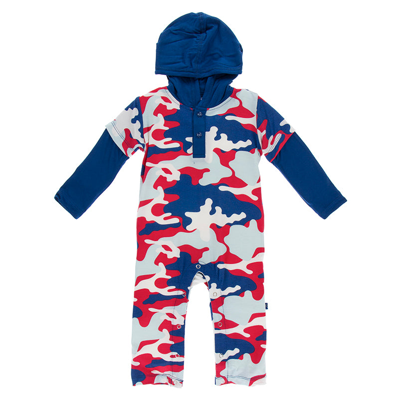 Flag red military hooded romper-Romper-Paris Pink & Cowboy Blue Baby Boutique