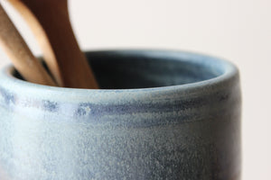 New Albion Clayworks Utensil Crock Pottery in Wellhouse Blue