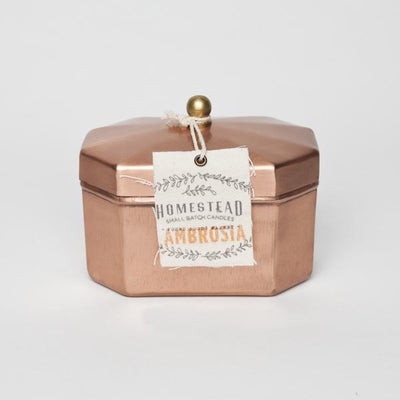 Octagon Copper Tin Candle - Ambrosia
