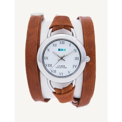 Brown Leather Wrap Watch Give Simple