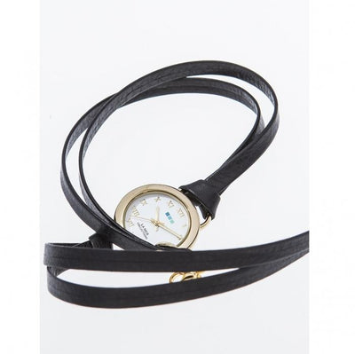 Black Leather Wrap Watch Give Simple