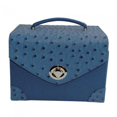 Ostrich Jewelry Carrying Case - French Blue