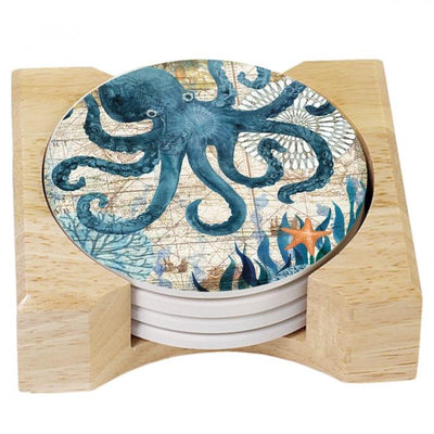 Blue Octopus Stone Coaster Set