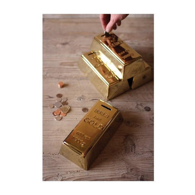 Gold Bar Piggy Bank Give Simple