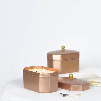 Octagon Copper Tin Candle - Sundry dpm fragrances