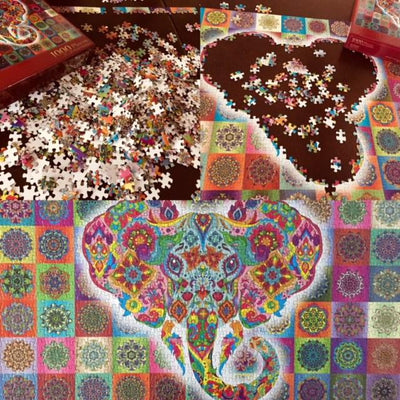 Elephant Mandala Jigsaw Puzzle -1000 pieces Give Simple