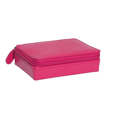 Earrings and Rings Leather Jewelry Case - Raspberry