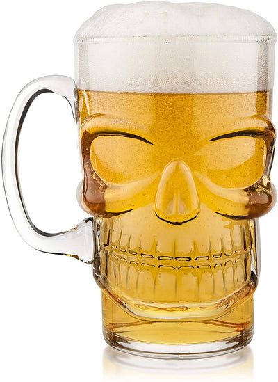 Glass Skull Beer Mug Give Simple