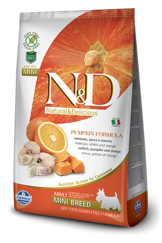 N&D Pumpkin Grain-Free Codfish & Orange Adult Dog Mini Breed
