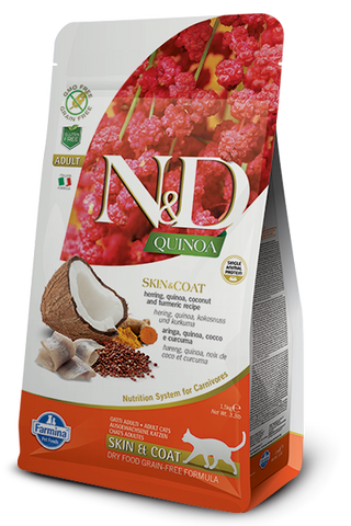 Natural & Delicious Herring, Quinoa, Coconut & Turmeric Adult Cat Food for Skin & Coat
