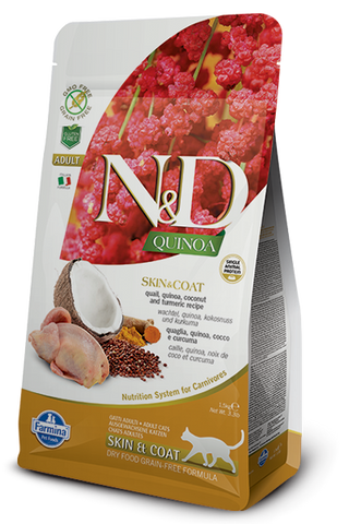 Natural & Delicious Quail, Quinoa, Coconut & Turmeric Adult Cat Food for Skin & Coat