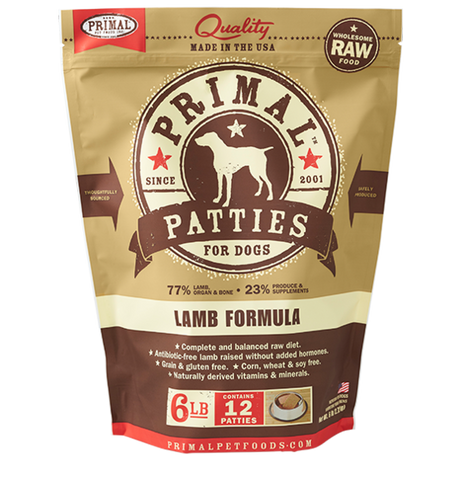 Primal Patties Raw Frozen Canine Lamb Formula