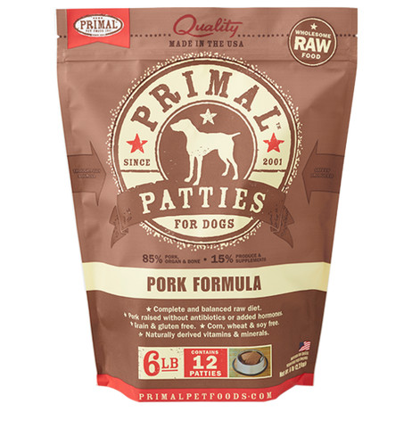 Primal Patties Raw Frozen Canine Pork Formula