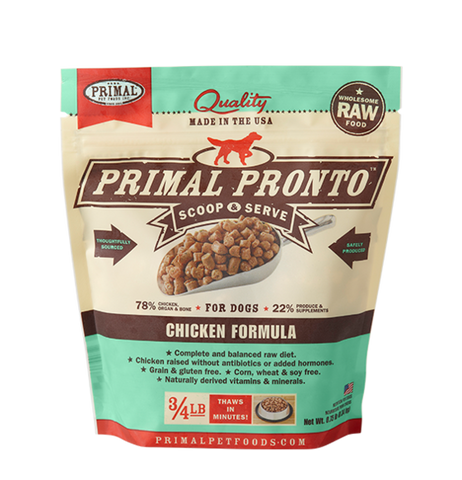 Primal Pronto Raw Frozen Canine Chicken Formula