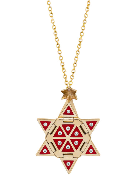Yellow Gold Star of Creation with Red Ceramic and Diamonds
