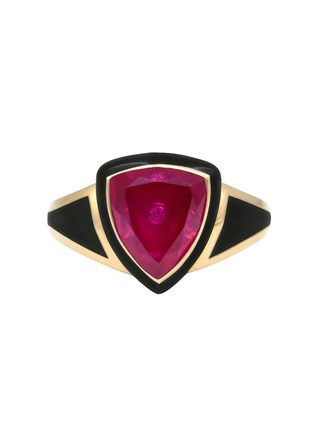 Blue Enamel with Light Pink Sapphire Shield Ring