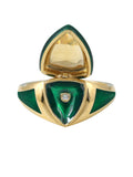 Green Enamel with Citrine Shield Ring