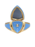 Light Blue Enamel with Blue Tourmaline Shield Ring