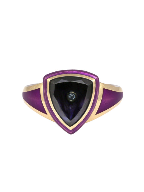 Purple with Blue Tourmaline Shield Ring