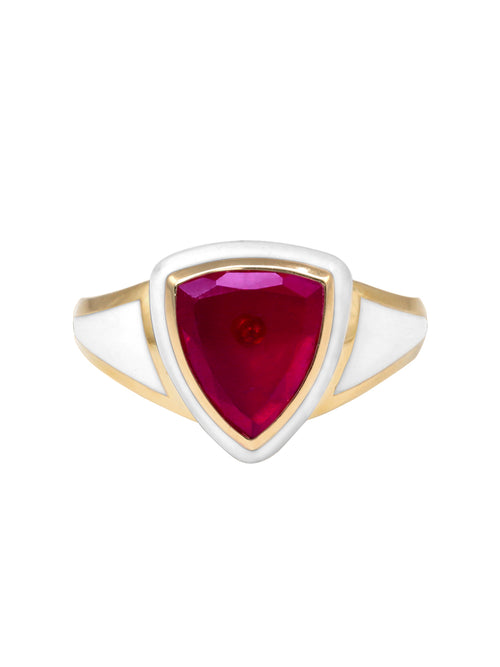 White Enamel with Ruby Shield Ring