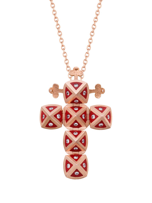 Rose Gold Cross with Red Ceramic and Diamonds