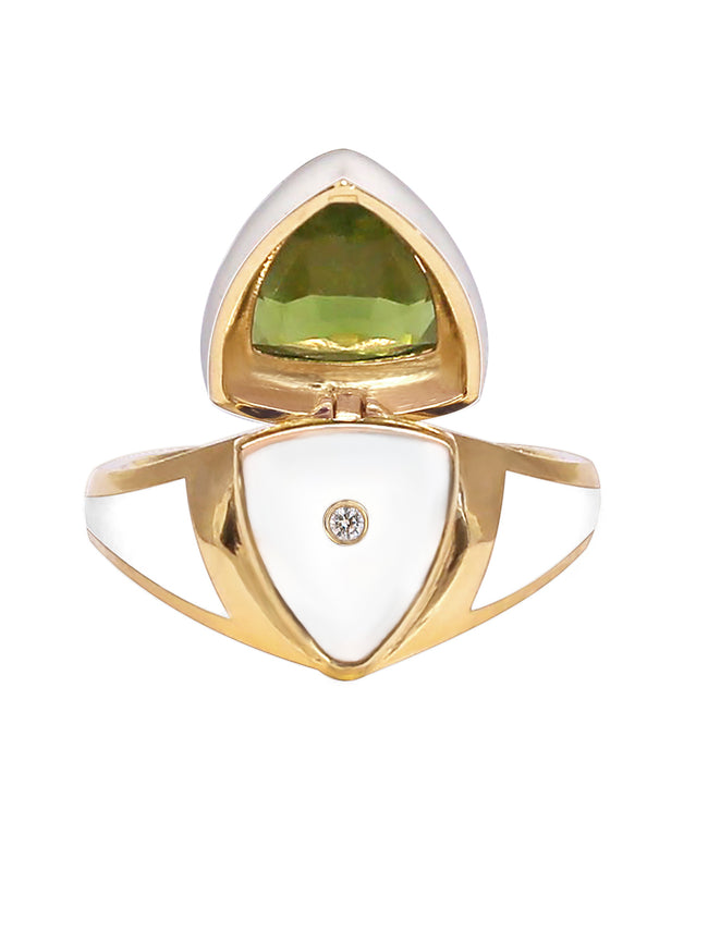 White Enamel with Peridot Shield Ring
