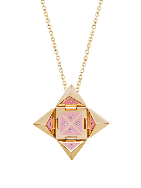 Yellow Gold Shield with Pink Enamel and Diamonds