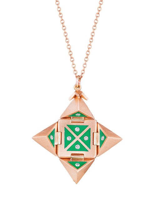 Rose Gold Shield with Green Ceramic and Diamonds