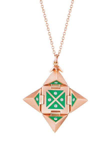 Rose Gold Shield with Green Enamel and Diamonds