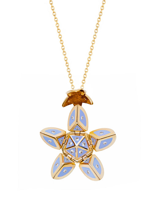 Yellow Gold Petal with Periwinkle Blue Enamel and Diamonds