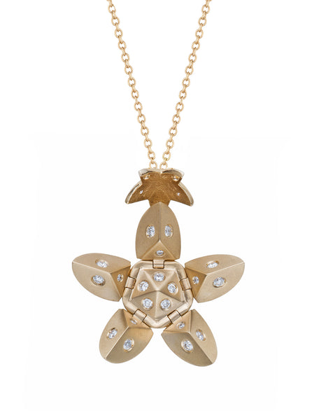Yellow Gold Petal with Diamonds