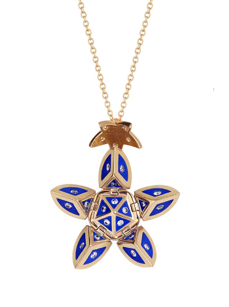 Yellow Gold Petal with Blue Enamel and Diamonds