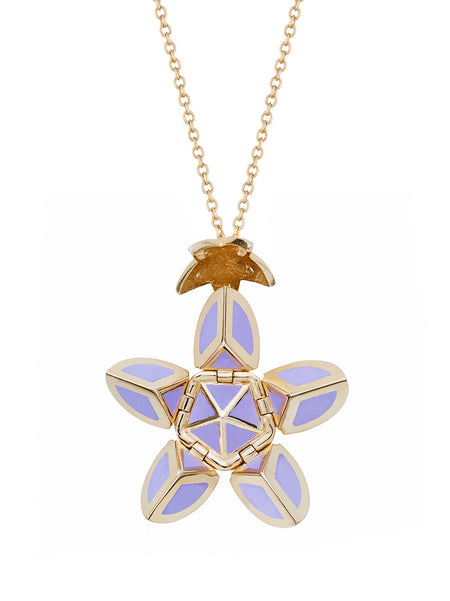 Yellow Gold Petal with Purple Enamel