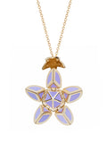 Yellow Gold Petal with Violet Enamel