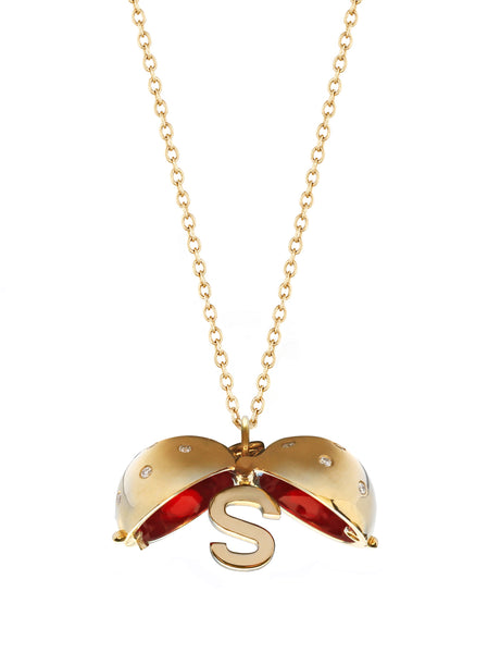 Letter S Diamond Sphere with Cherry Red Enamel
