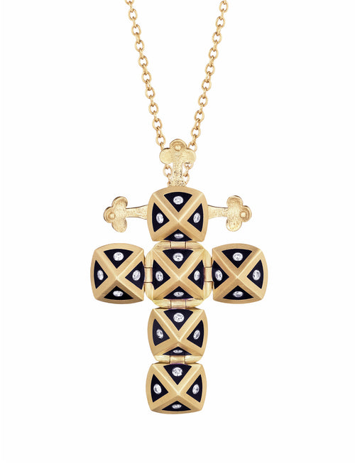 Yellow Gold Cross with Black Ceramic and Diamonds