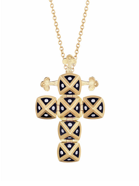 Yellow Gold Cross with Black Enamel and Diamonds