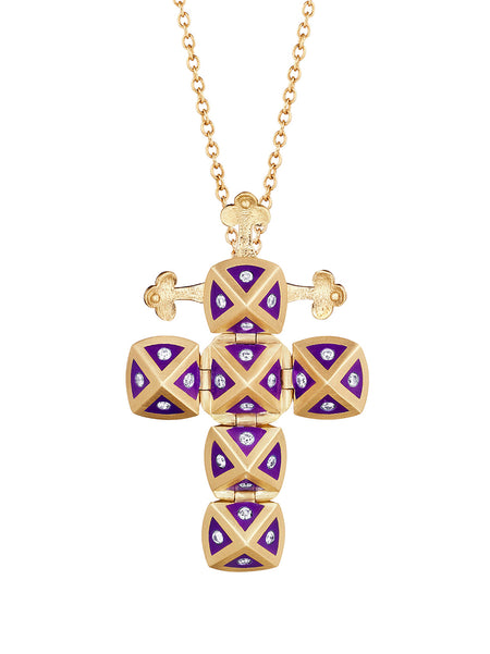 Rose Gold Cross with Light Blue Enamel