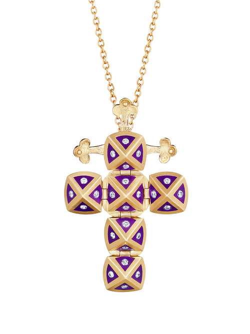 Yellow Gold Cross with Purple Ceramic and Diamonds