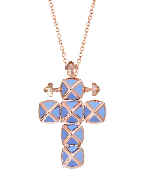 Rose Gold Cross with Light Blue Ceramic