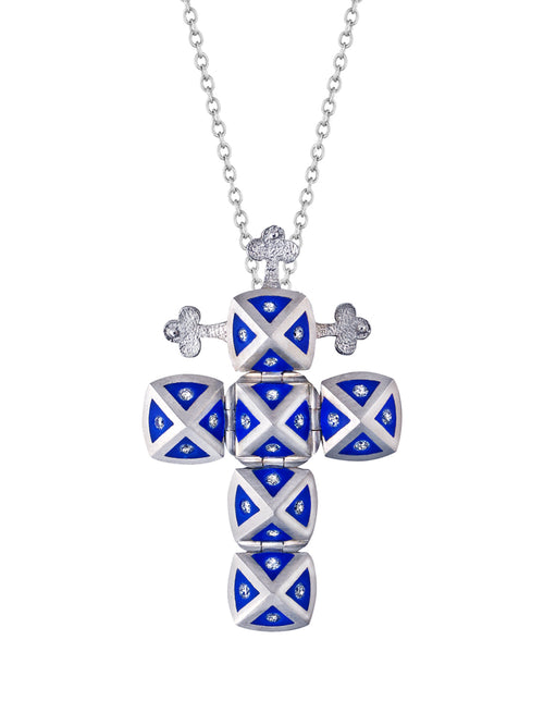 White Gold Cross with Blue Ceramic and Diamonds