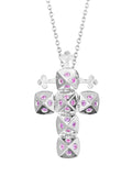 White Gold Cross with Pink Sapphires