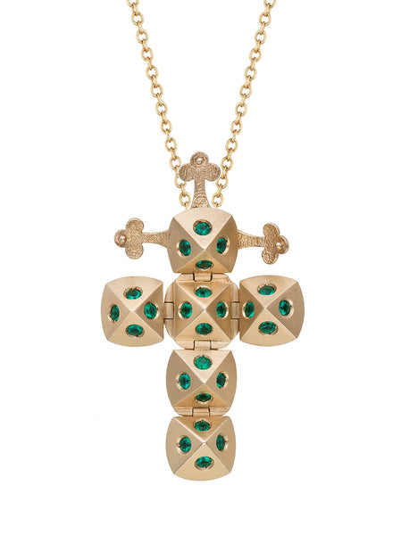 Yellow Gold Cross with Emeralds