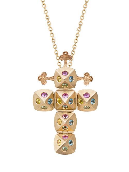 Yellow Gold Cross with Green, Pink, Yellow Sapphires and Aquamarines