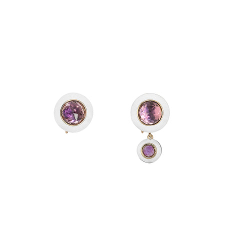 Rose Gold Hidden Gem Earrings with Fuchsia and Purple Enamel with Opals