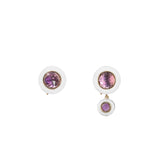 Yellow Gold Hidden Gem Earrings with White Enamel and Pink Quartz