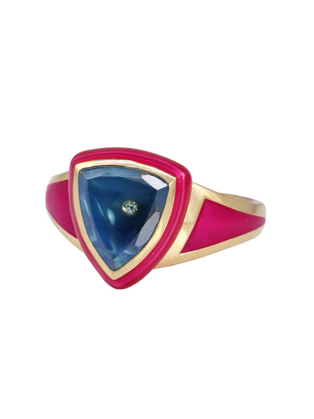 Hot Pink Enamel with Light Green Ombré Sapphire Shield Ring