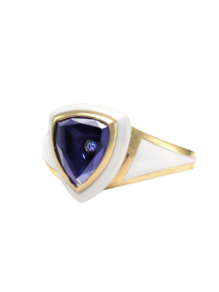 White Enamel with Light Blue Sapphire Shield Ring