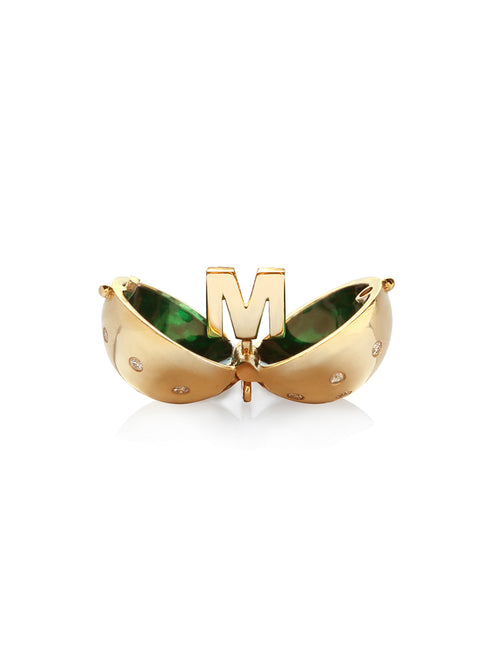 Letter M Diamond Sphere with Green Enamel