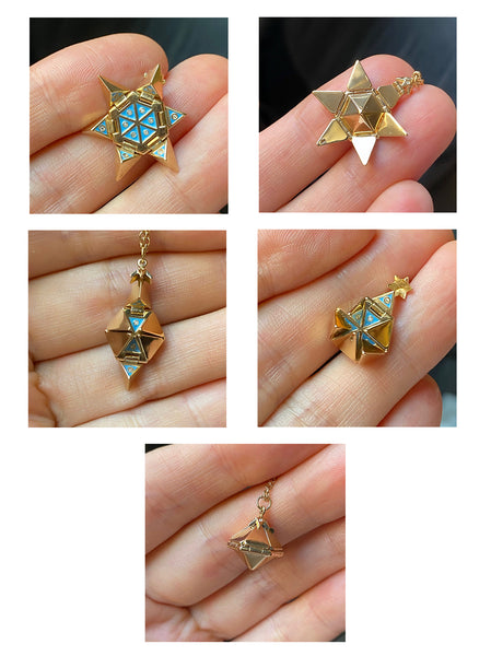 Yellow Gold Star of Creation with Blue Ceramic and Diamonds